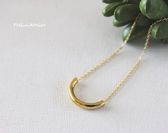 Curved Tube Necklace in Gold/Silver. Minimalist Jewelry. Simple and Chic. Collarbone Necklace. Timeless. Gift For Her (PNL-198)