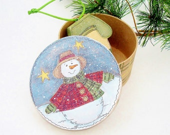 Hand Painted Gift Box for Small Treasures Snowman Decor