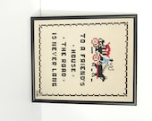 Needlework Sampler 1960s Cross Stitch Sampler Vintage Wool Sampler Framed Motto Road to Friends House is Never Long