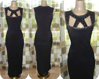 Vintage 90s Dress   1990s Gown   Cut-Out Cage Neckline   Beaded Rhinestone Formal   Long Black Jersey Dress   Sexy   Red Carpet   Sz Medium
