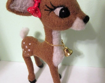 Deer with Red Bow Soft Sculpture Felted Art Doll