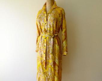 Vintage 1960's/Yellow Paisley Shirtwaist Dress/Alex Coleman/60's Yellow Silky Paisley Dress/Lemon Yellow Shirt Dress/Small-Medium