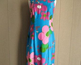 Vintage Hawaiian Dress Large/Hawaiian Mod Print Dress/Alice/1960's Mod Hawaiian Print Dress/Large