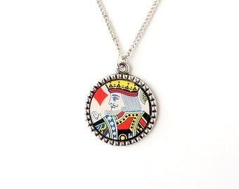 King of Diamonds Necklace, Playing Card Pendant, Resin Jewellery, Retro Jewellery, Upcycled Recycled, UK, 1647