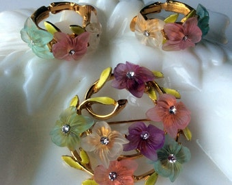 Signed ART Floral Brooch and Earrings Set - Enamel Leaves