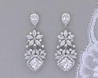 Chandelier Crystal Earrings, Crystal Bridal Earrings, Crystal Chandelier Earrings, White Gold Jewelry, LISA 2