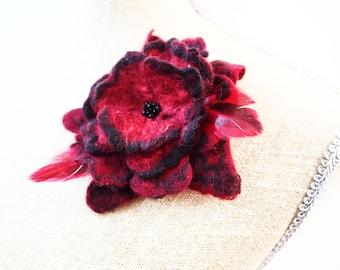 Red Brooch Black Brooch Burgundy Brooch Felted Brooch Felted Jewelry
