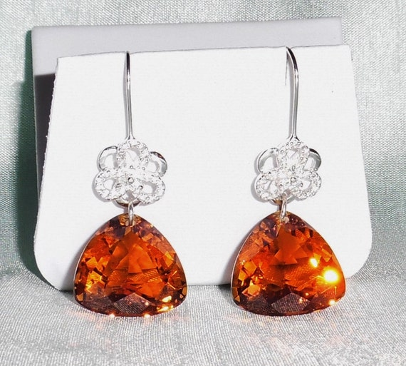 59ct Natural Trillion Maderia Citrine gemstones Sterling Silver Pierced Earrings