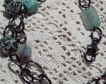 Jade Green and Silver Bead and Chain Lanyard