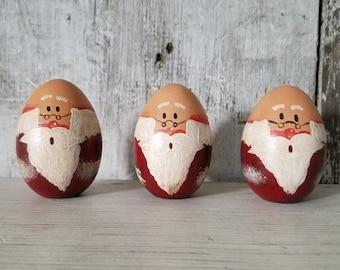 Primitive Country Santa Wood Egg, Bald Santa, Painted Santa, Primitive Christmas, Victorian Christmas, Christmas Decor, Wood Santa