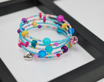 Candy Colored Wrap Bracelet, Memory Wire Bracelet, Beaded Bracelet, Pastel Bracelet, Turquoise and Pink Bracelet, Beaded Wrap Bracelet