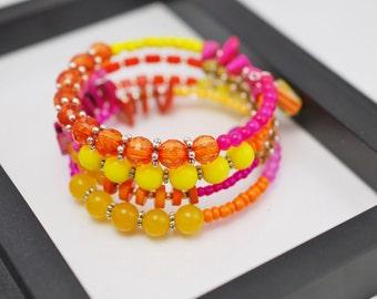 Pink Orange and Yellow Wrap Bracelet, Memory Wire Bracelet, Beaded Bracelet, Boho Bracelet, Beaded Wrap Bracelet, Free Shipping