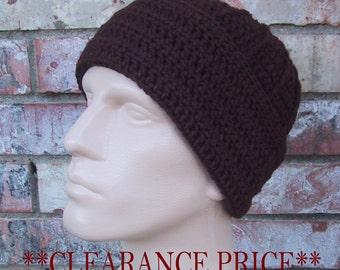 CLEARANCE PRICED - Brown Mens Beanie - Size Large - Hand Crocheted - Warm Acrylic Yarn - Handmade - Sailor Beanie - Nice Gift - ReadyToShip
