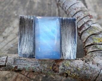 Moonstone Ring. Handmade Ring. Oxidized Silver And Moonstone Ring. Adjustable Ring. Moonstone Properties. Chakra Stone Ring.