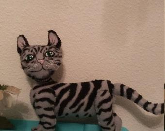 grey tabby cat plush felt stuffed animal toy ally kitten