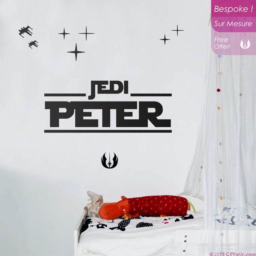 Star wars sticker mural le pr nom de votre enfant jedi - Pochoir star wars ...