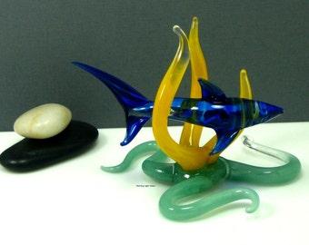 Blue Glass Shark Sculpture - Lampwork Sea Life Art  - Artisan Crafted Home Decor