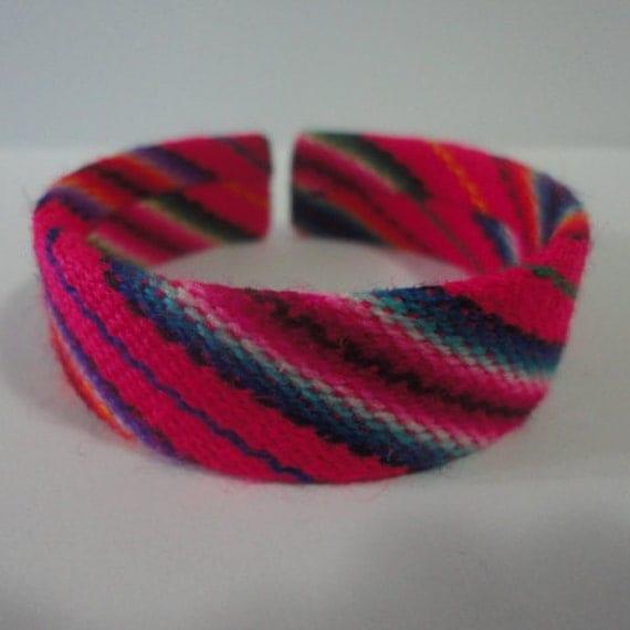 Peruvian Bracelet Cuff Bangle Peruvian Manta Fabric Handmade Ethnic Art Peru