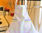 Vintage Style Infant Toddler Apron in Plaid Pastels