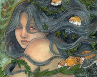 She Swims With Fish....Original 8x10 Mixed Media Illustration