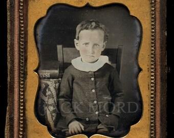 1/6 Dag - Cute Little Boy with DATE 1852 Written on Book!