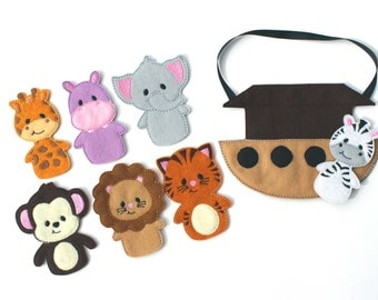 Noah's Ark Finger Puppets, Busy Bag, Travel Game, Animal, Bible, Pretend Play, Elephant, Party Favor, Busy Board, Quite Play, Noahs Ark