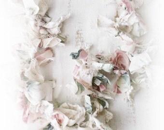 Rag Bow Garland. Pink WHite Shabby Roses.  Rustic Cottage Weddings. Shabby chic Cottage Romance Nursery Decor.Photo Prop. Handmade Keepsake