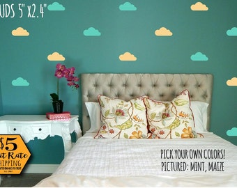 Cloud Wall Decals Etsy - Nursery wall decals clouds