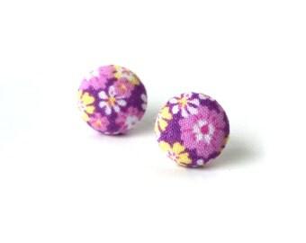 Orchid purple button earrings - floral fabric earrings - flower stud earrings - yellow white cute