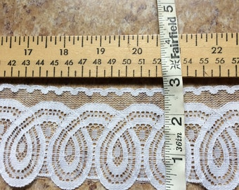 PER YARD WHITE lace trim doll clothes doll making sewing bridal wedding wide craft favors cosplay costume baptism christening gown Halloween