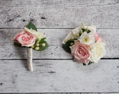 Wedding Boutonniere and Corsage Set - Blush Pink and Ivory Rose Boutonniere and Corsage