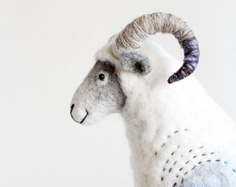 Felted Ram - Hugo.  Art Toy Marionette Sheep Handmade Puppet Felt Stuffed Toy gift kids Waldorf  baby shower gift nursery decor white blue.