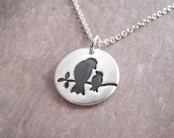 Small Mother and Baby Bird Necklace, New Mom Necklace, Mother and Child, Fine Silver, Sterling Silver Chain, Made To Order