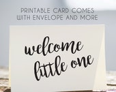printable new baby card, instant baby card, welcome little one card, instant download