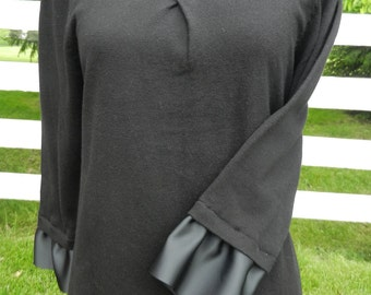 Black Ribbon Trim 3/4 Sweater