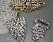 3 Art Deco Rhinestone Pavé Dress Clip Brooch in Pot Metal