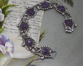 """Taxco Mexico Sterling Silver & Amethyst Cabochon Bracelet 8"""""""