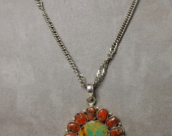 Navajo Artisan Made Turquoise& Coral Pendant Necklace in Sterling Silver