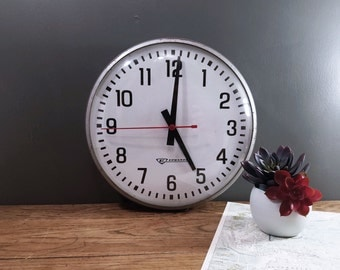 Vintage Wall Clock, Large Schoolhouse Office Mid Century Edwards Electric Clock; Vintage Industrial Decor