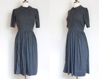 vintage 1950s novelty print day dress / 50s teal and brown printed shirtdress / S