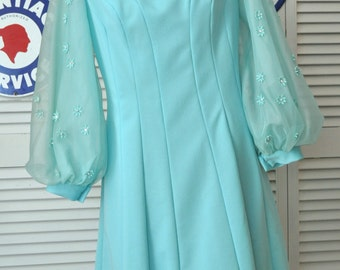 Vintage 60s Womens Mod Dress/Sheer Bell Sleeves/A Line/Rhinestone & Bead Floret Sleeve Trim/Mr AW/Turquoise Blue Green/Theater Costume/Med-L