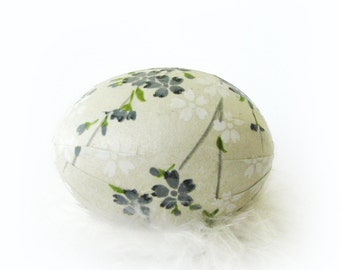 Easter Egg Japanese Washi -  Off White with Blue Grey Flowers - Matte Finish