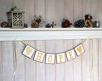 Hope Banner - Paper Garland - Bunting - Christmas Decoration - Mantle Decor - Inspirational Home Decoration - Housewarming Gift