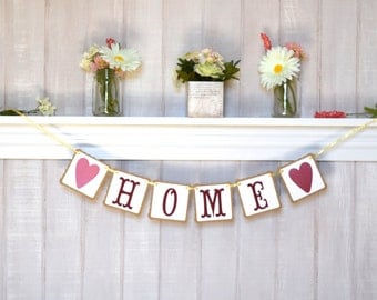 Home Banner - Housewarming Gift - Wall Decoration - Paper Garland - Customizable Colors - Home Decoration - Home Mantle Decor