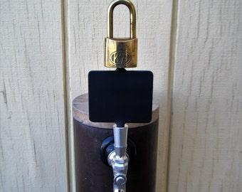 Chalkboard Beer Tap Handle Antique Brass Padlock Industrial Look kegerator beer faucet #1