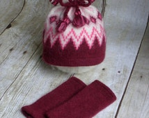 Newborn Baby Girl Photo Prop Hat and Leg Warmers - Baby Girl Winter Outfit - Newborn Upcycled Photo Props - Cranberry Red - READY TO SHIP