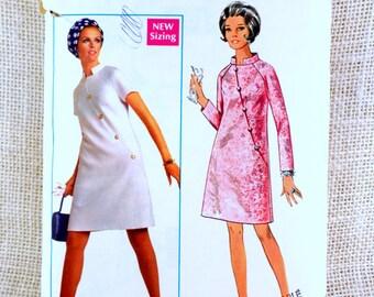 Vintage Pattern Simplicity 5156 1960s Mod Coat Dress Bust 41 Cheongsam Double Breasted Asian plus size asymmetric
