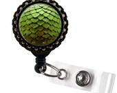 Green Dragon Scale Egg Black Bottlecap Badge Reel ID Tag Holder