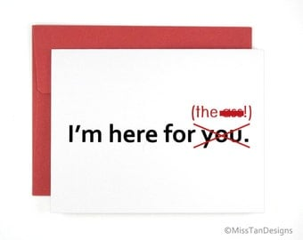 Rude Cards - Here For The A@s -  Anniversary Gift - Funny Card For Her