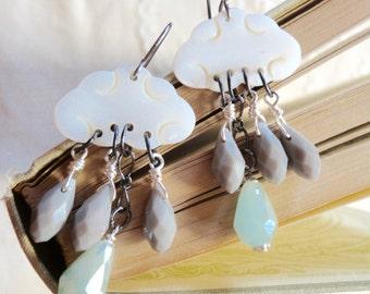 Rainy day storm clouds earrings, rain earrings, cloud and raindrop earrings, Drip Drip Drop